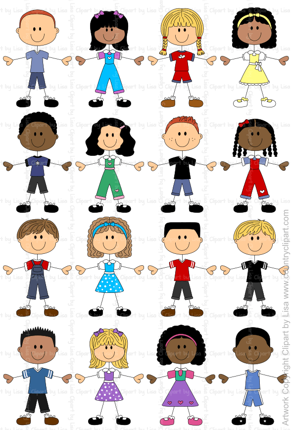Figures and faces family. Children clipart stick figure