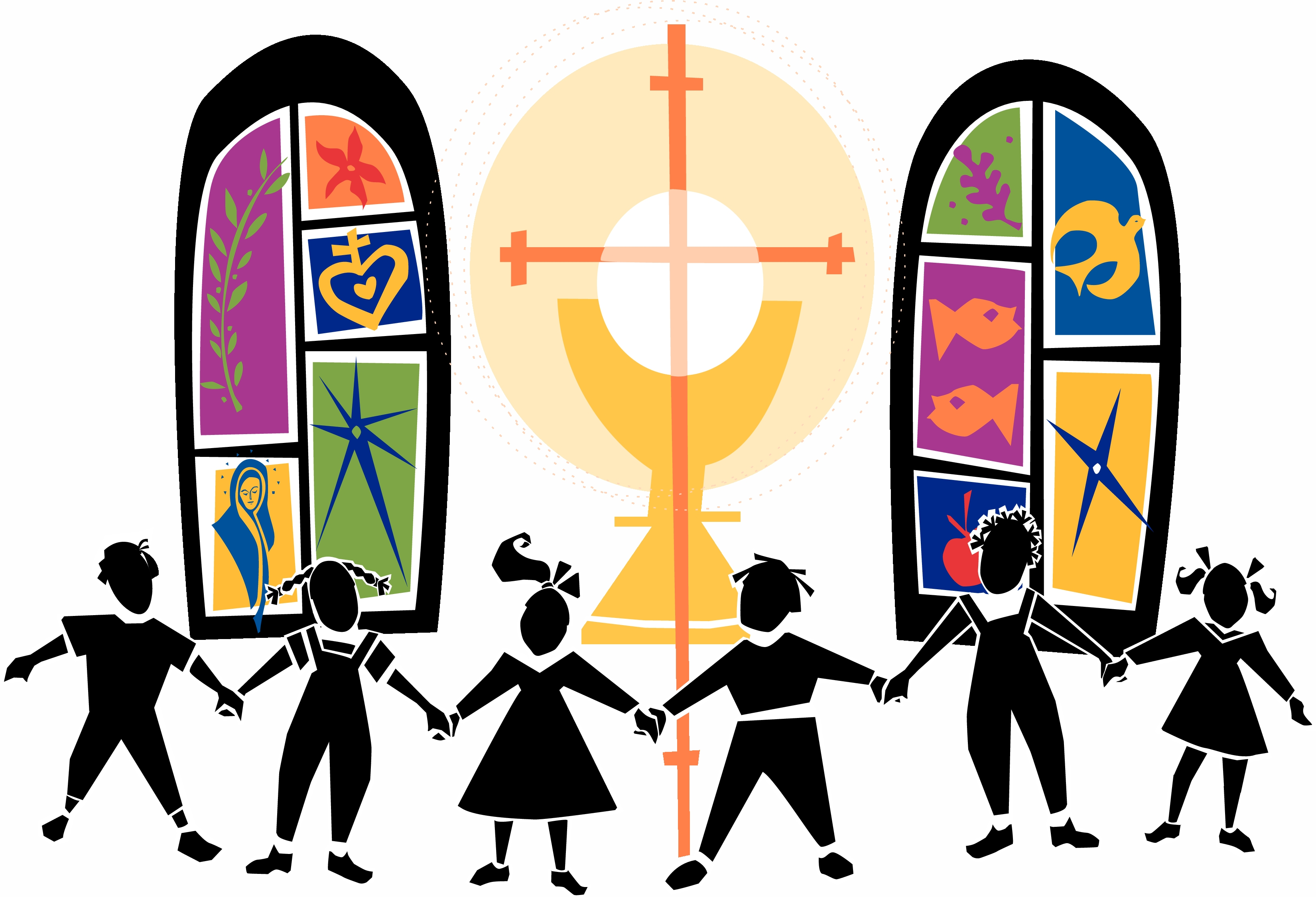 Awesome collection digital coloring. Children clipart worship