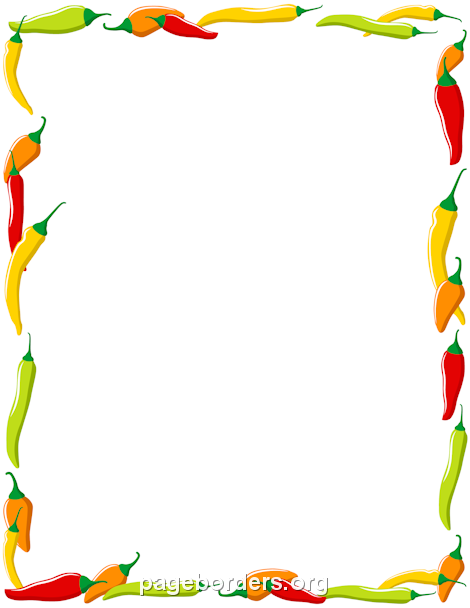 Printable chili pepper use. Peppers clipart border