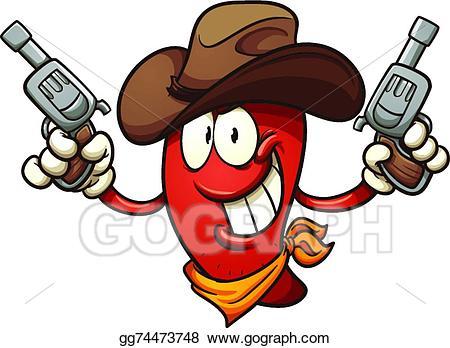 Vector illustration pepper eps. Chili clipart cowboy