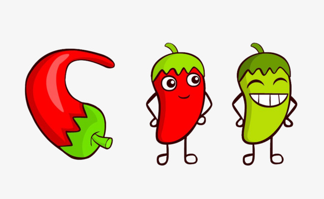 Cartoon red and pepper. Chili clipart cute