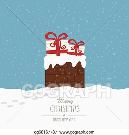 Chimney clipart background. Vector art christmas gift