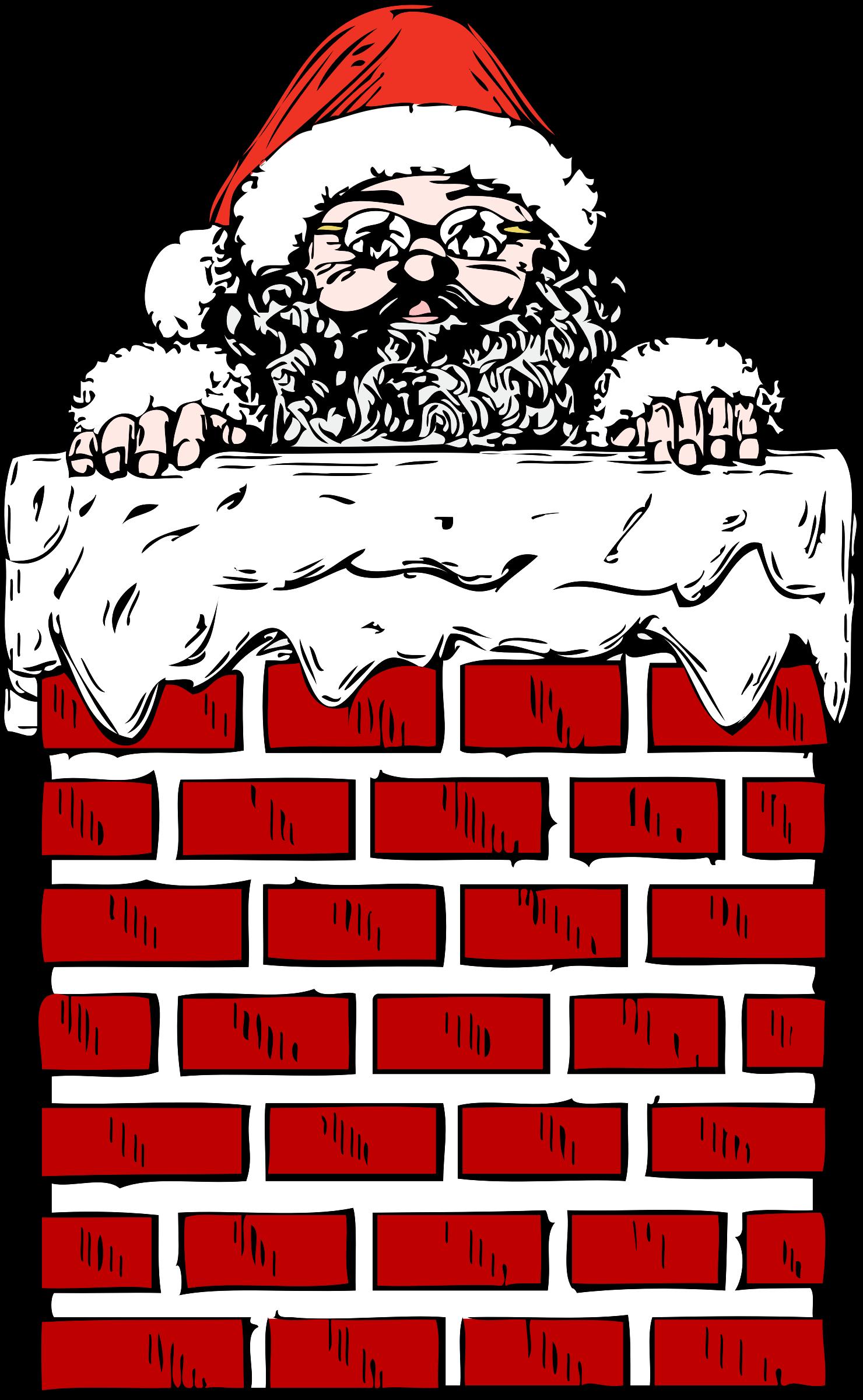 Chimney clipart background. Santa in a big
