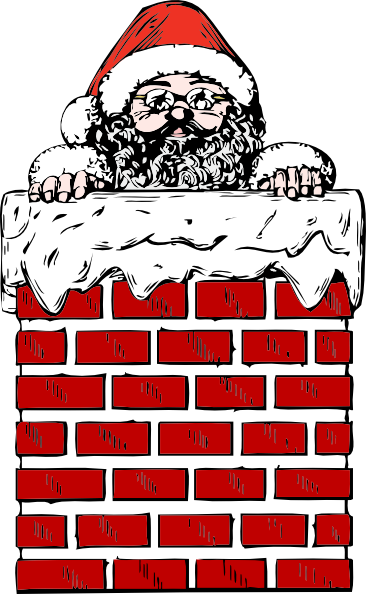 Chimney clipart cartoon. Santa in a clip