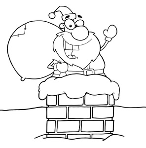 Chimney clipart cartoon. Santa image claus going