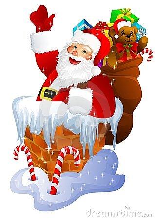Chimney clipart cartoon. Santa claus