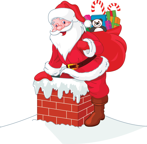 Chimney clipart cartoon. Down the santa christmas