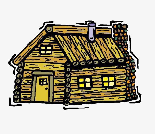Wooden hut hand painted. Chimney clipart cartoon