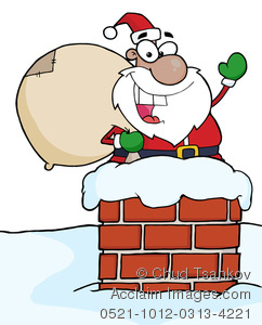 A saint nick sliding. Chimney clipart cartoon