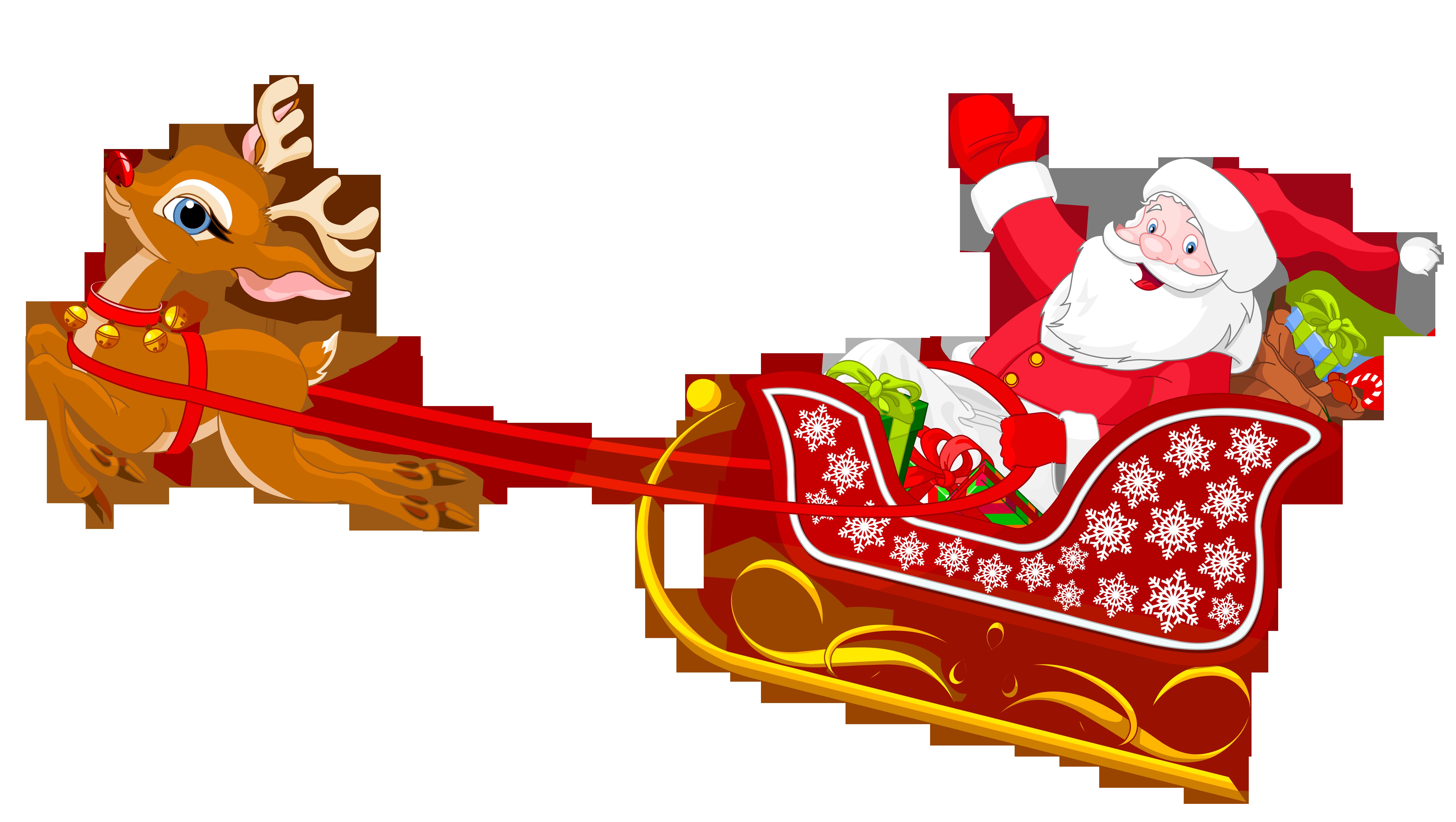 Santa and reindeer with. Hedgehog clipart christmas