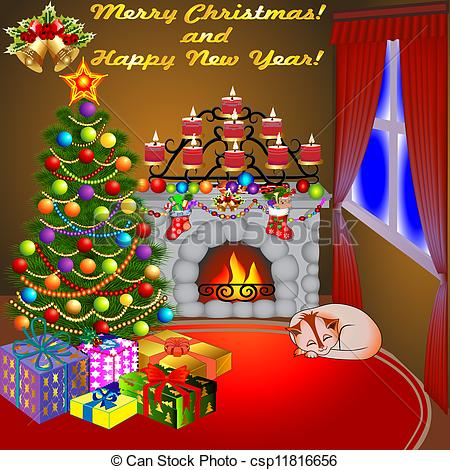 collection of and. Chimney clipart christmas tree fireplace