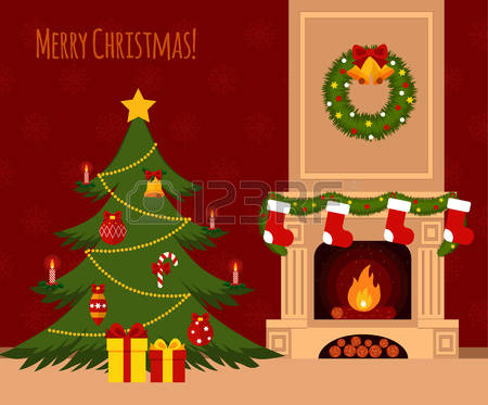 Christmas Fireplace Scene Clipart.Chimney Clipart Christmas Tree Fireplace Chimney Christmas