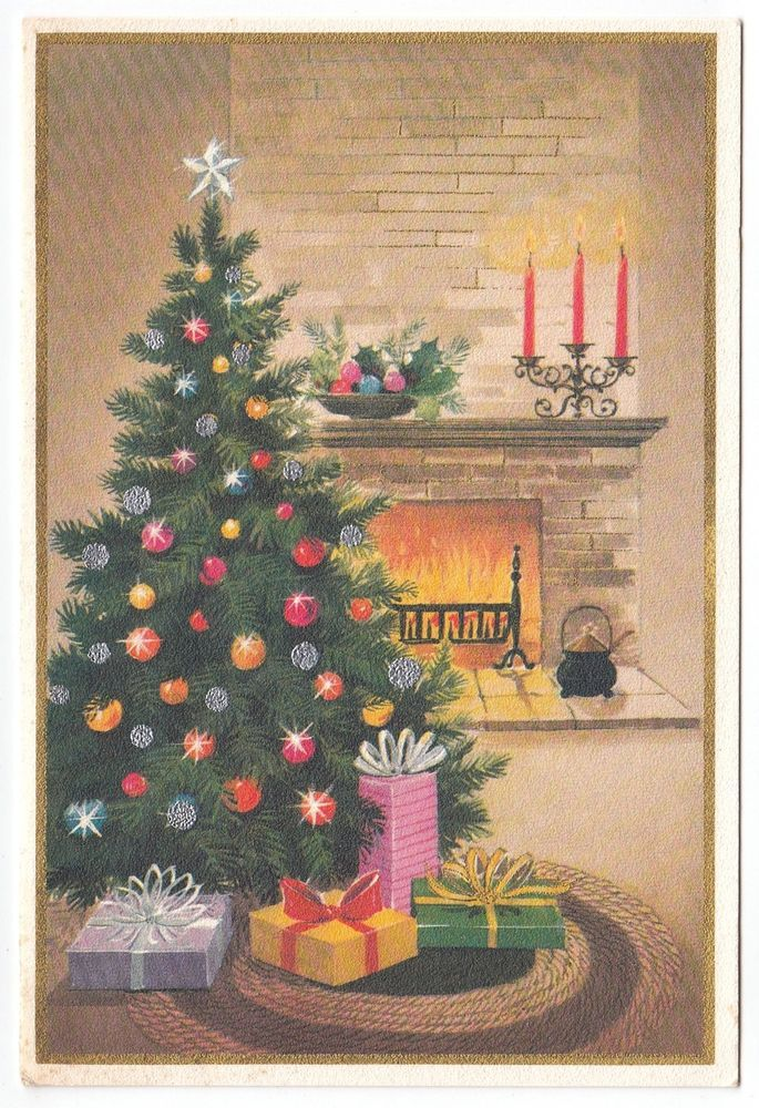 Chimney clipart christmas tree fireplace. Vintage greeting card decorated