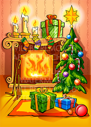 Chimney clipart christmas tree fireplace.  collection of and