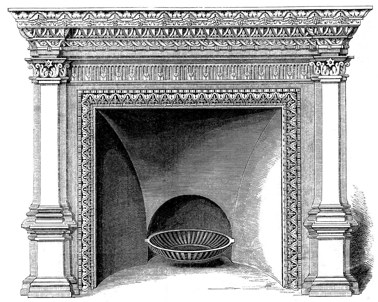 Vintage clip art mantels. Fireplace clipart mantelpiece