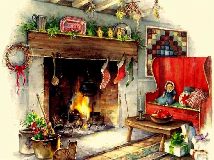Christmas Fireplace Scene Clipart.Chimney Clipart Fireplace Scene Chimney Fireplace Scene