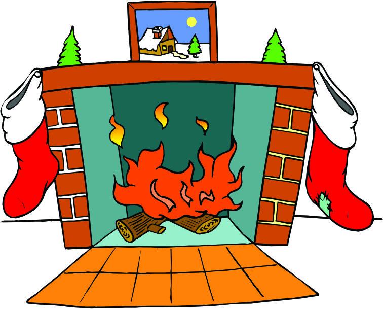 Fireplace clipart comic. Christmas clipartix
