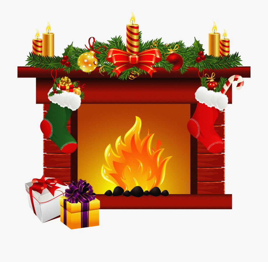 Fireplace clipart indoor. Clip art christmas decorated