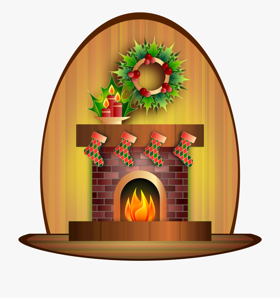 Fireplace clipart indoor. Chimney christmas