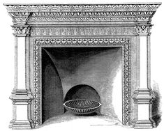 Vintage clip art fireplace. Chimney clipart mantel