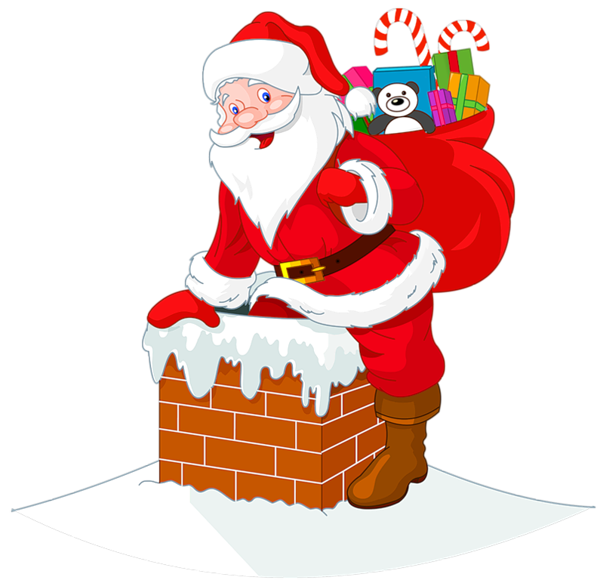 Transparent santawith chimney cipart. Clipart christmas hot chocolate