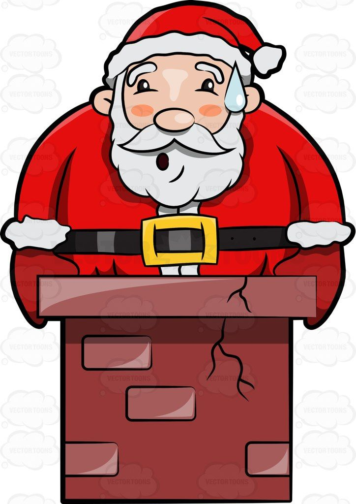 A worried claus gets. Chimney clipart santa boot