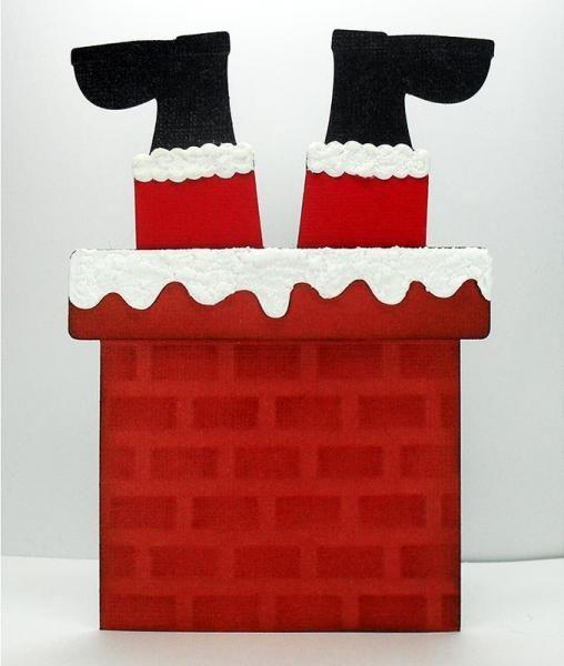 Stuck in the christmas. Chimney clipart santa foot