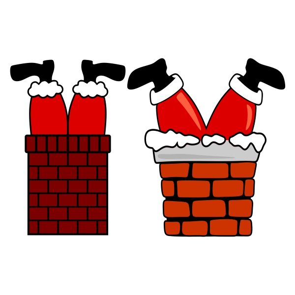 Christmas feet cuttable design. Chimney clipart santa foot