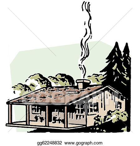Stock illustration a small. Chimney clipart smoking chimney