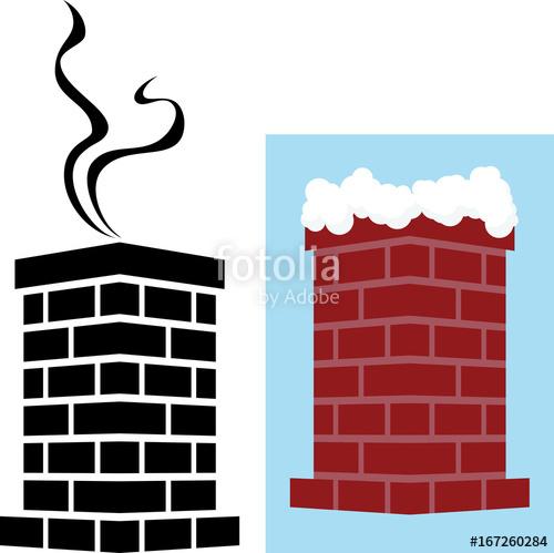 Brick icon with snow. Chimney clipart smoking chimney