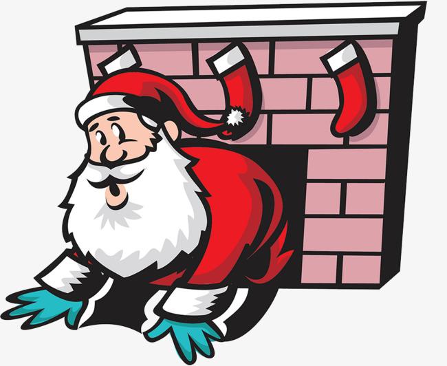 Chimney clipart stocking clipart. Santa claus illustration gift
