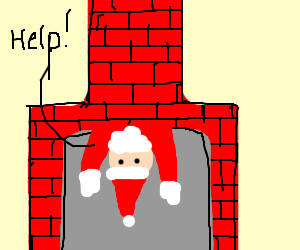 Chimney clipart upside down. Santa s having problem