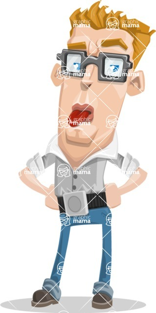 Chin clipart cleft chin. Vector tall geeky man