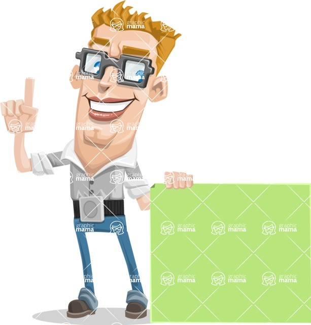 Vector tall geeky man. Chin clipart cleft chin