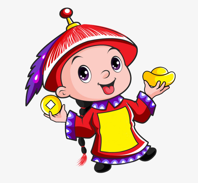 Chinese qing style cartoon. China clipart animated