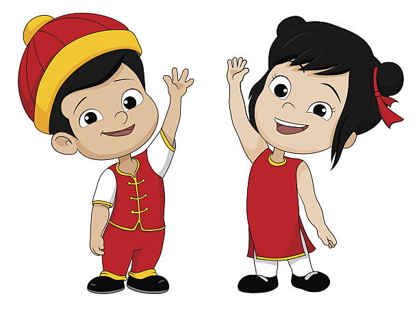 China clipart animated. Set of cartoon chinese