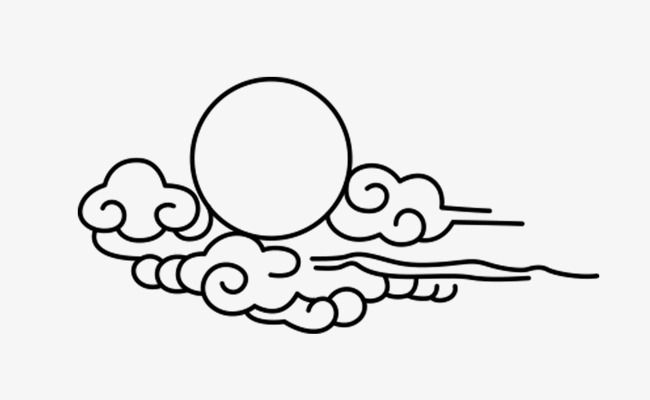 Wind cloud stick figure. China clipart black and white