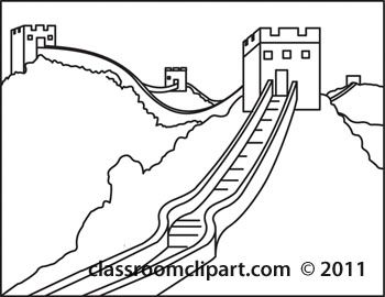 China clipart black and white. Great wall of clip