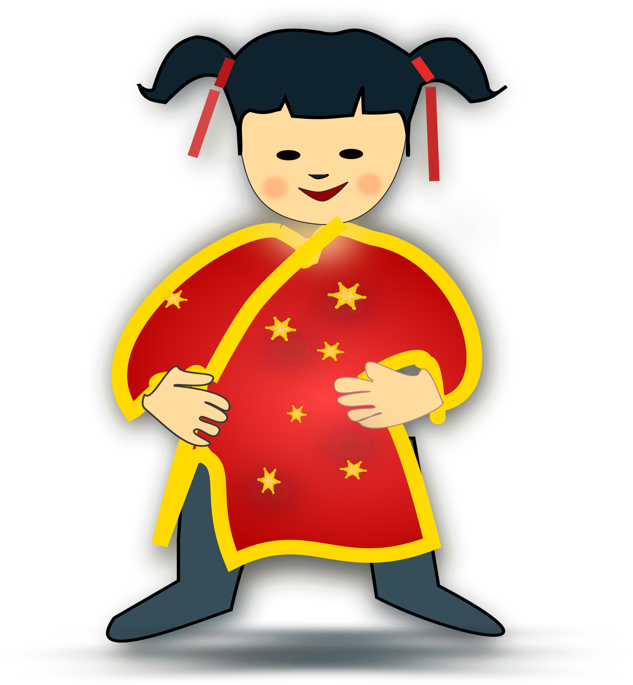 Girl person chinese transparent. China clipart cartoon