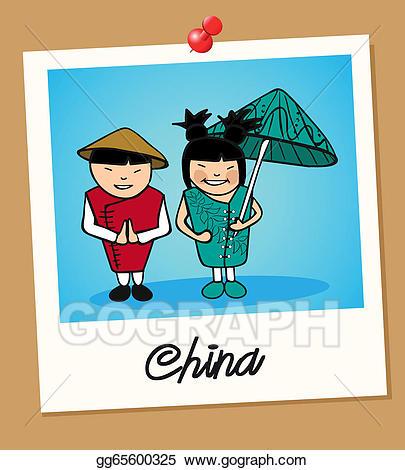 China clipart china travel. Vector polaroid people illustration
