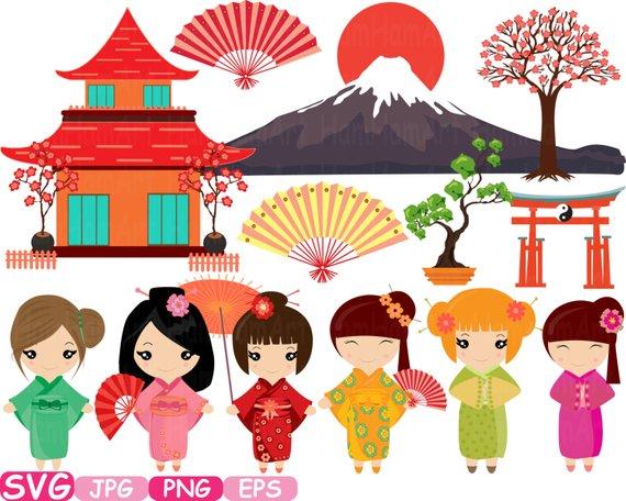 Kokeshi japanese dolls cutting. China clipart china travel