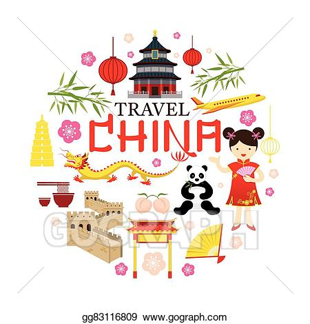 Eps vector icons label. China clipart china travel