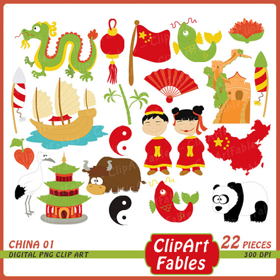 Pencil and in color. China clipart cute