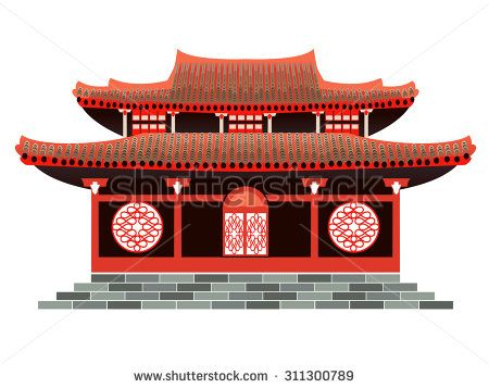 China clipart house chinese. Red holiday home asian