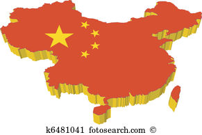 Map . China clipart illustration