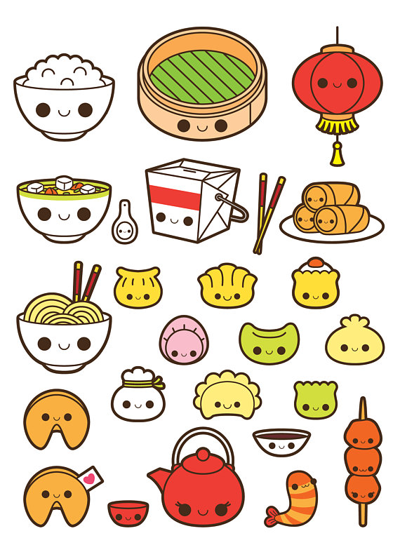 Chinese food fortune . China clipart kawaii