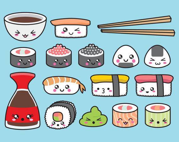 Premium vector sushi clip. China clipart kawaii