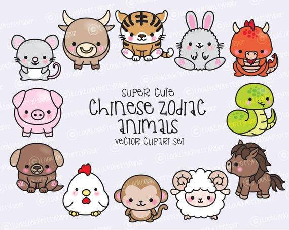 Premium vector chinese zodiac. China clipart kawaii