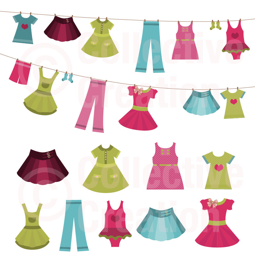 collection of girl. Clothing clipart child clothes