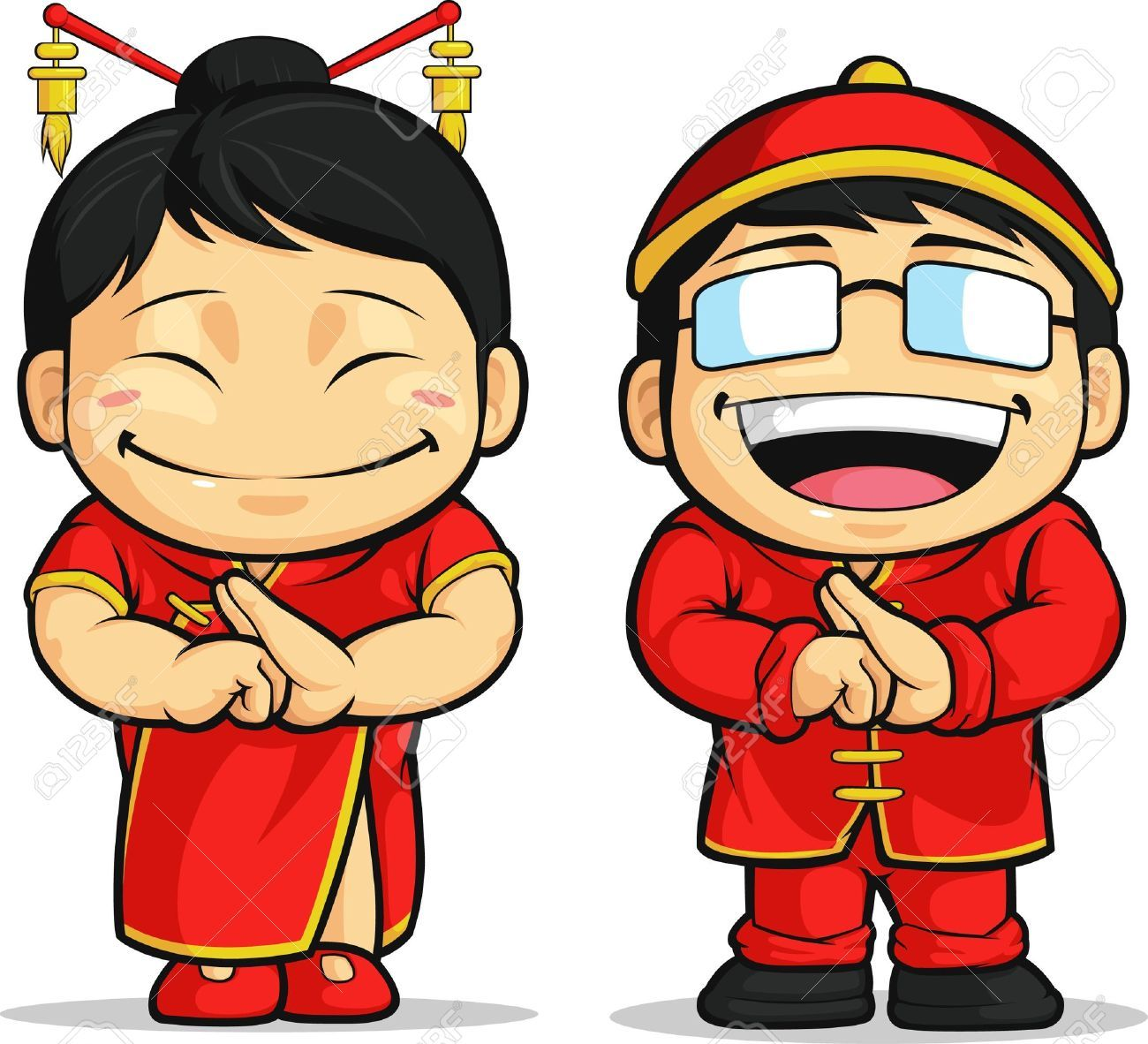 Cartoon of boy girl. China clipart kid chinese